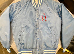 Vintage Houston Oilers Chalk Line Satin Bomber Jacket - M