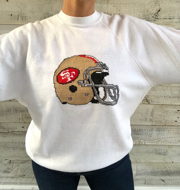 Vintage 1980s San Francisco 49ers EMBROIDERED Helmet Crew - L