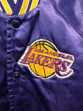 Load image into Gallery viewer, Vintage LA Lakers TODDLER / CHILD Chalk Line Satin Bomber Jacket SPELL OUT - Size CHILD 6/7