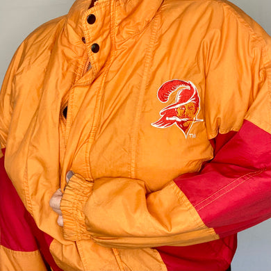 Vintage 1990s Tampa Bay Buccaneers Creamsicle Full Zip Puffer Jacket from Competitor / NFL Game Day - L