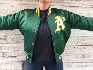 Vintage 80s Oakland A's Athletics Satin Bomber STARTER JACKET - L