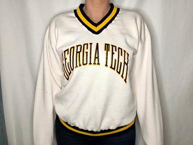 Vintage 1970s/1980s Georgia Tech Yellow Jackets VNECK - L