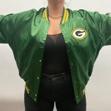 Load image into Gallery viewer, Vintage 1980s Green Bay GB Packers Chalk Line Satin Bomber Jacket SPELL OUT - XXL / 2XL