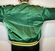 "Load image into Gallery viewer, Vintage 80s Oakland A's Athletics ""ANDY"" Satin Bomber Jacket - L"