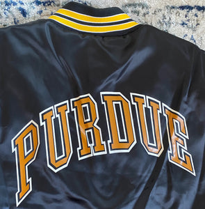 Vintage Late 80s-early 90s Purdue University Boilermakers Locker Line Satin Bomber Jacket SPELL OUT - XL