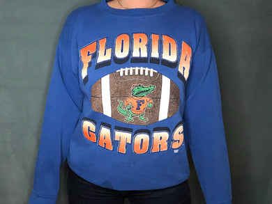 Vintage 1990s University of Florida Gators Old Logo Football Crew from Tultex - L