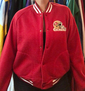 Vintage San Francisco 49ers Chalk Line Felt Bomber Jacket SPELL OUT - L