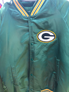 Vintage Green Bay Packers Chalk Line Satin Bomber - L