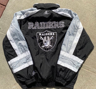 Vintage 1990s Raiders Logo Athletic Full Zip Windbreaker - L