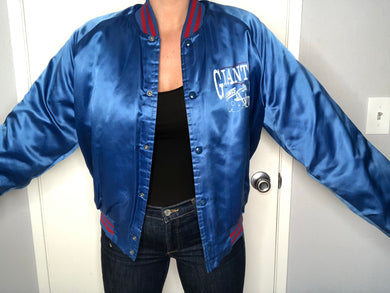 New York Giants Chalk Line Satin Bomber - L - Rad Max Vintage