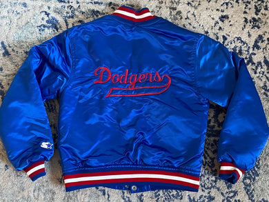 Vintage Los Angeles LA Dodgers Satin Bomber STARTER JACKET SPELL OUT - YOUTH MEDIUM
