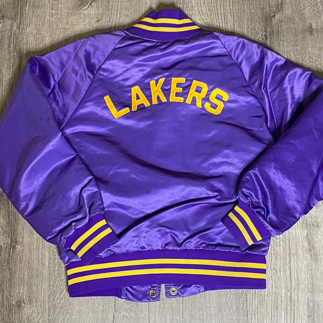 Vintage 1980s Los Angeles LA Lakers Satin Bomber Jacket SPELL OUT - Youth Medium / Adult XS