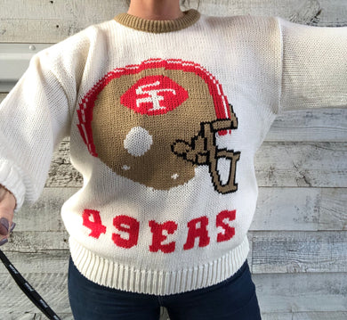 Vintage 1980s San Francisco 49ers Cliff Engle Crewneck SWEATER - M/L