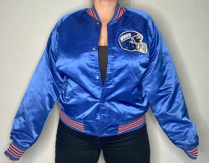 Vintage New York NY Giants Chalk Line Satin Bomber Jacket SPELL OUT - M