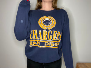 Vintage Late 80s / Early 90s San Diego Chargers Crew from Logo 7 - L