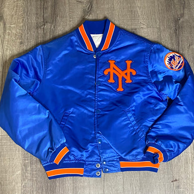 Vintage 1980s New York NY Mets Satin Bomber STARTER JACKET - Youth Large / Adult XS