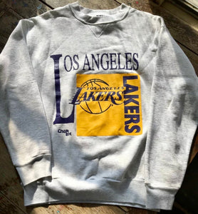 Vintage 90s Los Angeles Lakers Chalk Line Crewneck - M