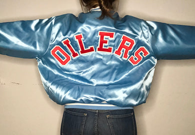 Vintage Houston Oilers Satin Locker Line Satin Bomber SPELL OUT Jacket - XL