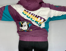 Load image into Gallery viewer, Vintage 1990s Mighty Ducks of Anaheim Full Zip Puffer Jacket from Pro Player - L