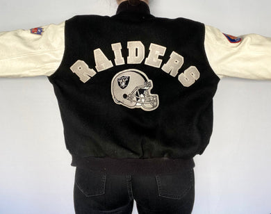 Vintage 1980s Los Angeles LA Raiders Felt & Leather Bomber Jacket SPELL OUT from Chalk Line - L