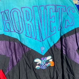 Vintage 1990s Charlotte Hornets Full Zip Pro Player Puffer Jacket - XL