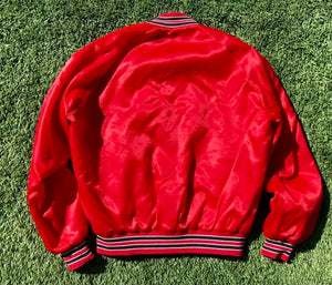 Vintage 1980s Arizona Cardinals Chalk Line Satin Bomber Jacket - M/L