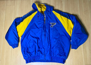Vintage 1990s St Louis Blues Logo 7 Full Zip Puffer Jacket with Hood - XL/XXL