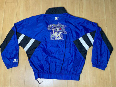 Vintage 1989-1994 University of Kentucky Wildcats OLD LOGO STARTER JACKET WINDBREAKER - XL