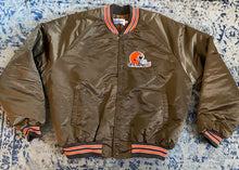 Load image into Gallery viewer, Vintage Cleveland Browns Chalk Line Satin Bomber Jacket with Spell Out - Size XXL