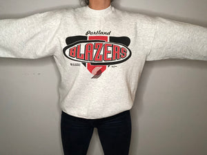 Vintage 2002 Portland Trail Blazers Light Grey Crew - L