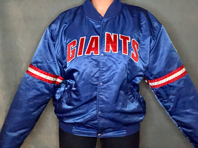 Vintage 1980s New York Giants Satin Starter Jacket - XXL