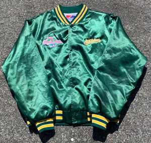 Vintage 1980s Oakland A's Athletics Satin Bomber Jacket from Swingster - XL