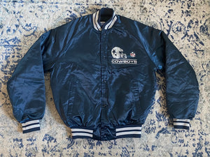 Vintage Dallas Cowboys Double-Sided Chalk Line Satin Bomber Jacket SPELL OUT - Youth XL / Adult XS
