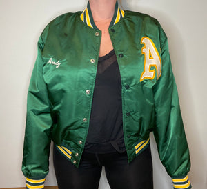 "Vintage 80s Oakland A's Athletics ""ANDY"" Satin Bomber Jacket - L"