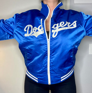 Vintage 1980s Los Angeles Dodgers Satin Bomber Jacket with Fleece Lining - M