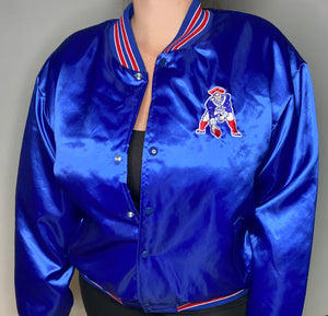 Vintage New England Patriots Old Logo Satin Bomber Jacket from Swingster - XL