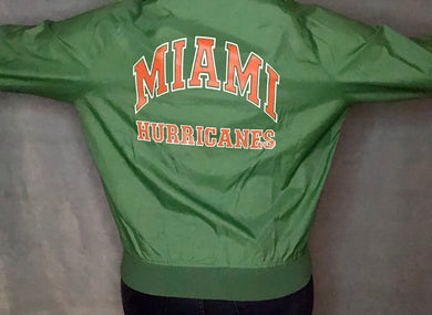 Vintage 80s University of Miami Hurricanes Chalk Line Windbreaker Bomber Jacket SPELL OUT - S