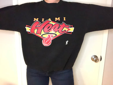 Vintage Early 1990s Miami Heat Logo 7 Crew - L