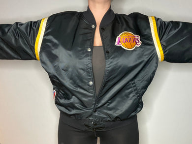 Vintage Black Los Angeles LA Lakers Satin Bomber STARTER JACKET - XL