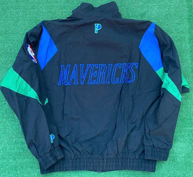 Vintage 90s Dallas Mavericks Old Logo Full Zip Windbreaker Jacket - XL