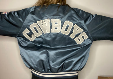 Vintage Dallas Cowboys Chalk Line Satin Bomber Jacket SPELL OUT - XL