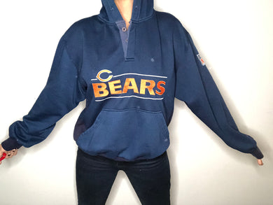 Vintage 1980s Chicago Bears Henley Hoodie from STARTER - L / XL