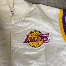Load image into Gallery viewer, Vintage 1980s Los Angeles LA Lakers Satin Bomber STARTER JACKET in WHITE - L