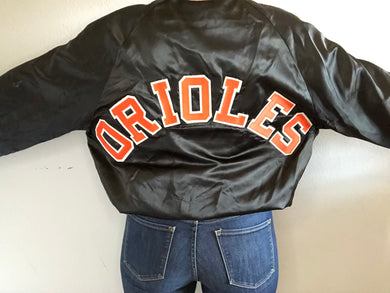 Vintage Baltimore Orioles Locker Line Satin Bomber SPELL OUT - L
