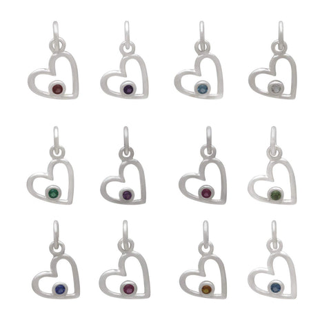 Birthstone Heart Charm