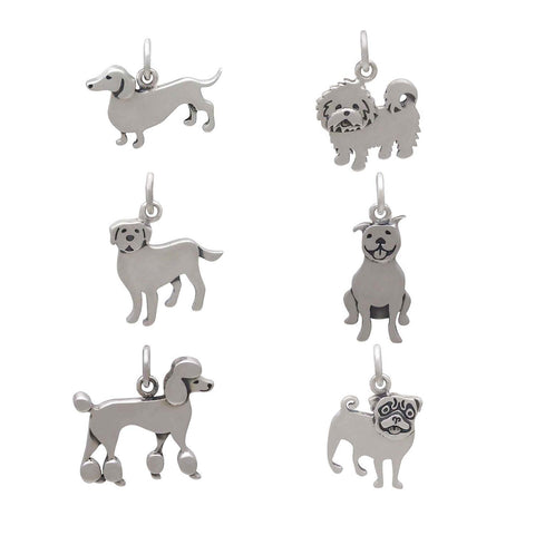 Dog breed silver charms