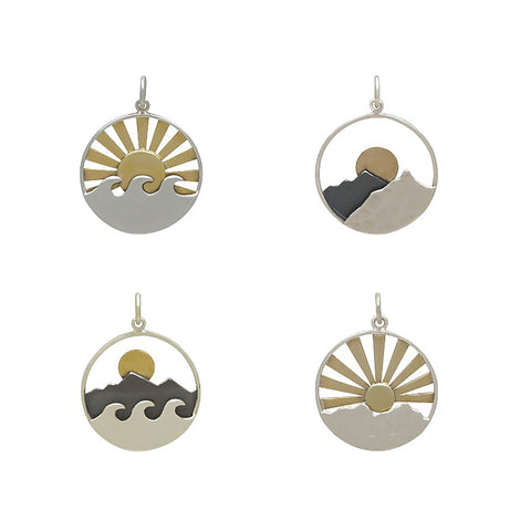 Sunrise Sunset Mixed Metal Charms