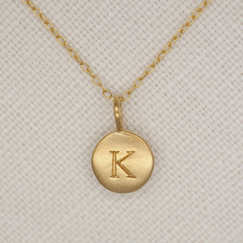Gold Dipped Initial Pendant with 18