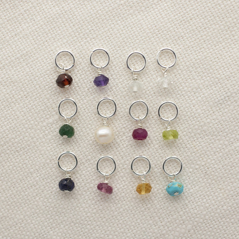 Silver Birthstone Gem Charms