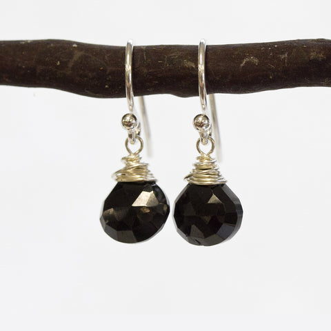 Black Spinel Wire Earrings Wholesale